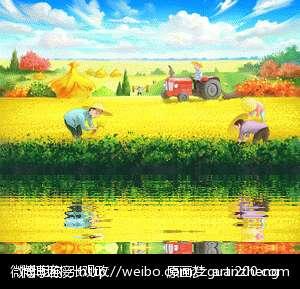 农民画画黑白风景