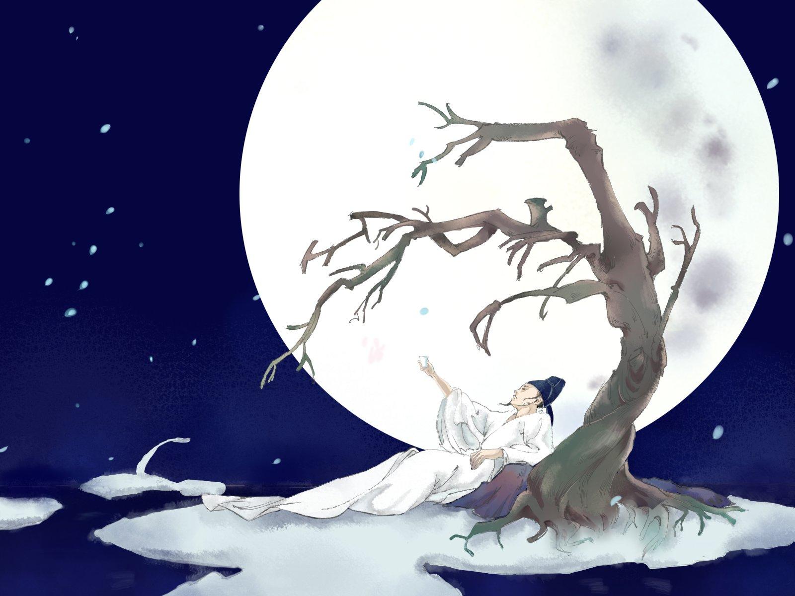 画画卡通人物李白