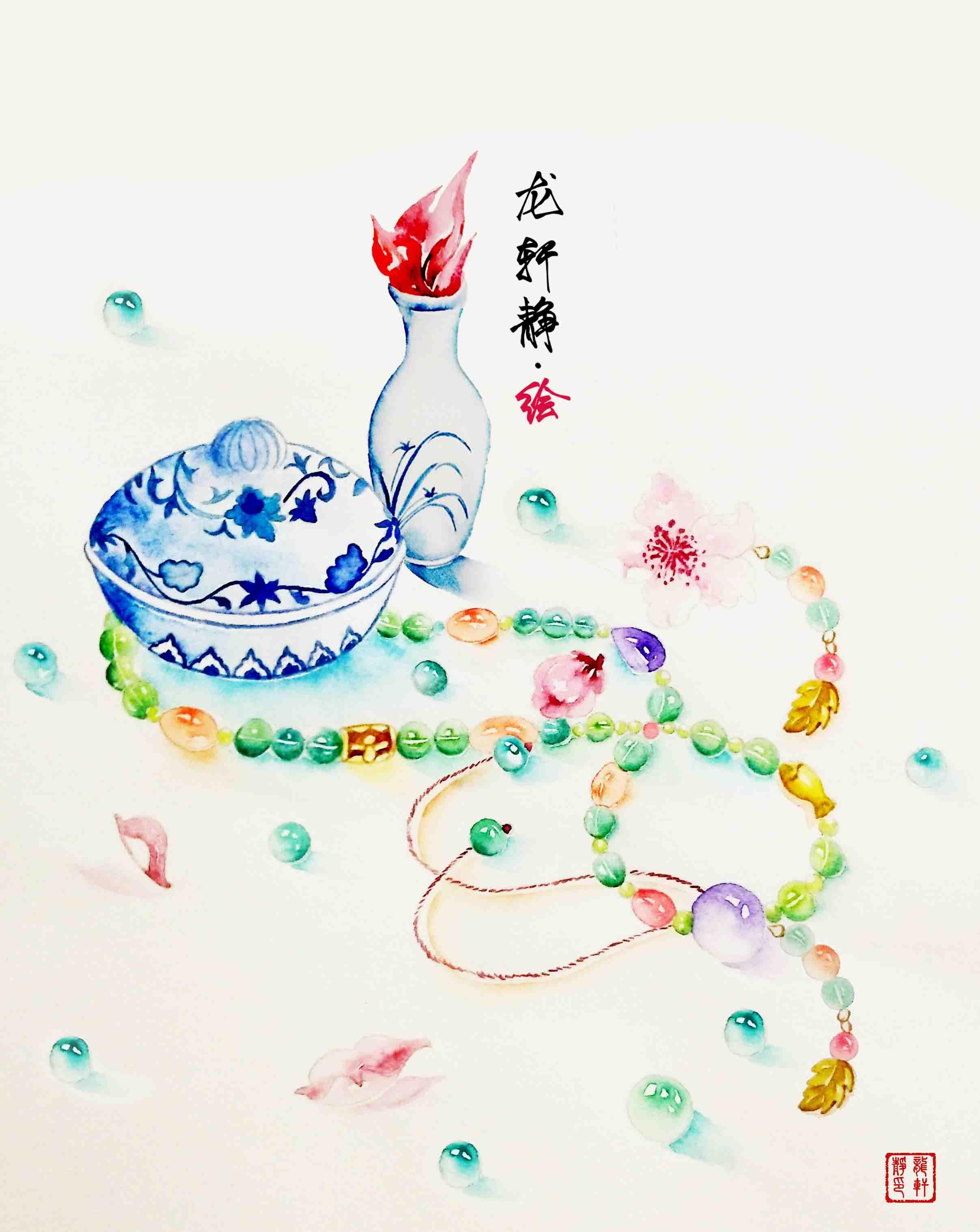 我的中国梦水彩笔画